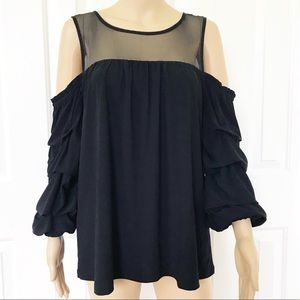 INC Cold shoulder Ruched bell sleeve loose fit top